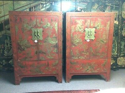 Large Antique Chinese Red Lacquered Cabinets (2 available)
