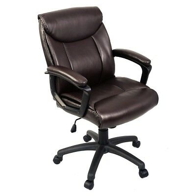 Ergonomic PU Leather Mid Back Executive Racing Office Chair Recliner Computer US