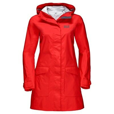 Jack Wolfskin Womens Crosstown Raincoat Jacket Hooded Waterproof Windproof