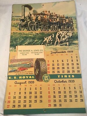 1939 U.S. ROYAL TIRES CALENDAR SUPERB GRAPHICS! AUTOMOTIVE ADVERTISING from CT.!