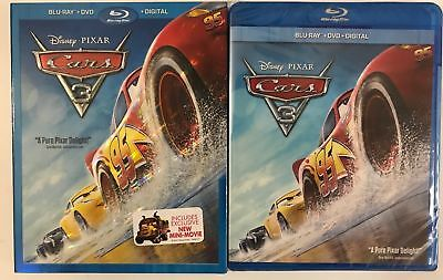 Disney Pixar Cars 3 Blu Ray + Dvd 3 Disc Set & Slipcover Sleeve Free Shipping
