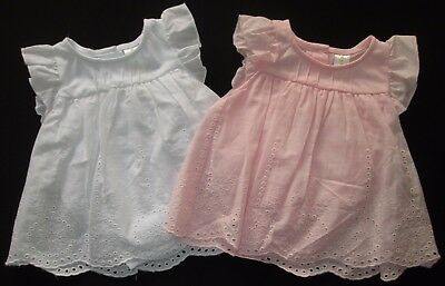 Baby Girls Dress White Pink Party Summer Cotton Frilly Dymples 0000 000 00 0 1