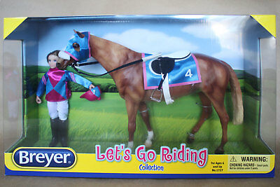 Breyer Let's Go Riding Racing Set, Horse, Tack, Doll NIB, mint, NOW  27% OFF!