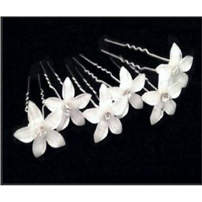 6Pcs US Stock Beautiful Flower Hair Pin With Crystal Center For Wedding Party