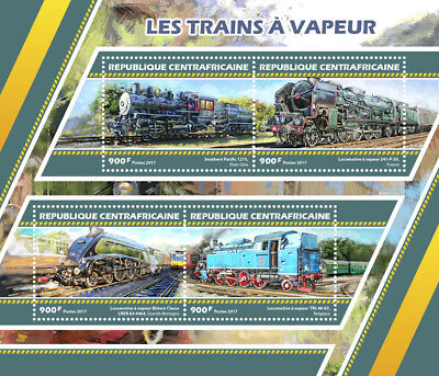 Central African Rep 2017 MNH Steam Trains Engines Locomotives 4v M/S Stamps