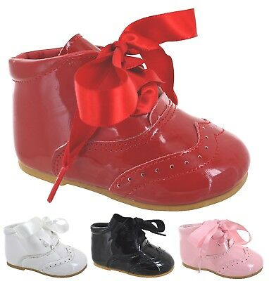 Baby Infants Kids Girls Ribbon Lace Wedding Party Patent Bow Spanish Shoes Size
