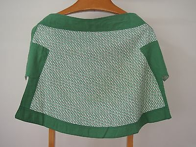 Vintage Green Patterned Half Apron with Green Edge