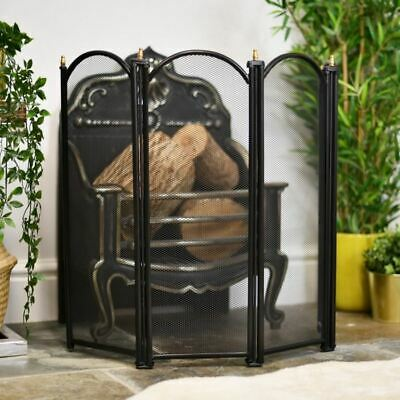 Black and Brass Four Fold Fire Screen