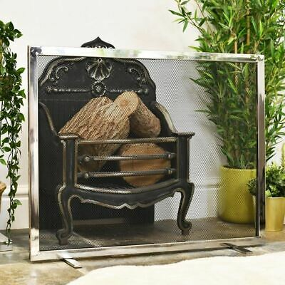 """Rotherington"" Polished Stainless Steel and Iron Fire Guard Or Fire Screen"