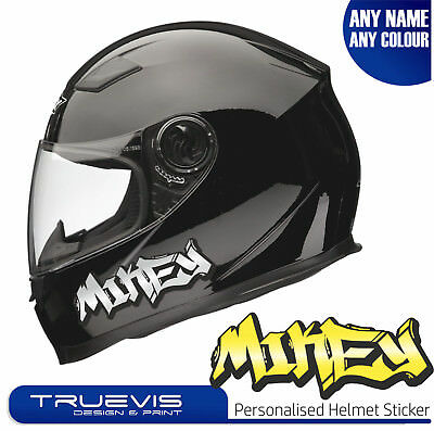 2 x PERSONALISED MOTORBIKE NAME STICKERS HELMET NAME MOTORCYCLE STICKERS DECALS