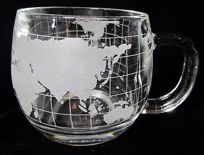 Vintage 1970's Nestle World Map Globe Clear Glass Coffee Cup Mug
