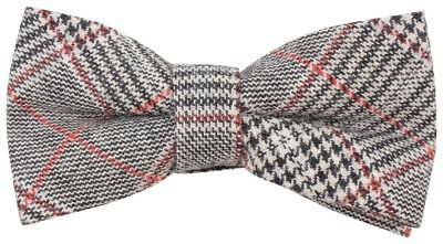 Knightsbridge Neckwear Price of Wales Checked Bow Tie - Black/Beige/Red