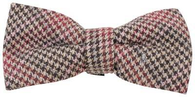 Knightsbridge Neckwear Price of Wales Checked Bow Tie - Brown/Pink/Red