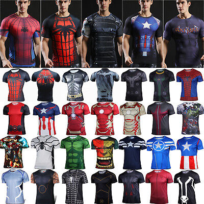 Mens 3D Short Sleeve Compression T-Shirt Gym Fitness Cycling Sports T Shirt Tops