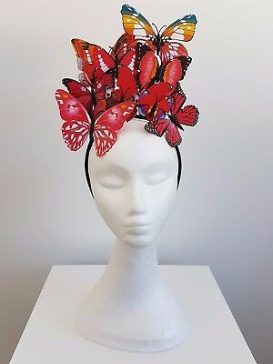 Miss Butterfly womens fashion butterfly headband fascinator in Red
