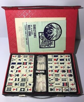 Vintage Mahjong Set Bamboo / Resin Mah-Jong 144 Piece Set w/ Counting Sticks