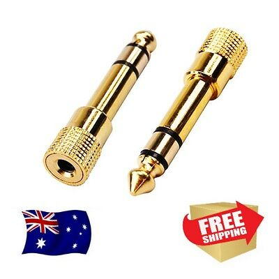 3.5mm Female to 6.35mm (1/4in) Male Gold Headphone Adapter Stereo Audio Jack Amp