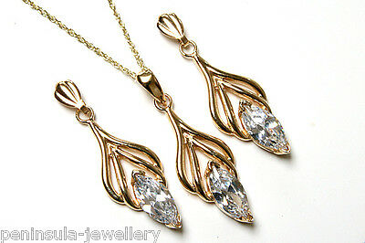 9ct Gold CZ Pendant and Earring Set Gift Boxed Made in UK