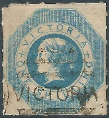 VICTORIA 1857 OCTAGONAL 1/- BLUE ACSC5 sg54 Rouletted 7-9 by PO Staff superb FU