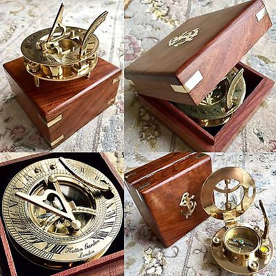 Original Boxed Handmade Brass Hatton Garden (London) Nautical Compass & Sun Dial