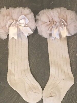 Baby girls cotton rich frilly frilled froufrou knee length long socks beige tutu