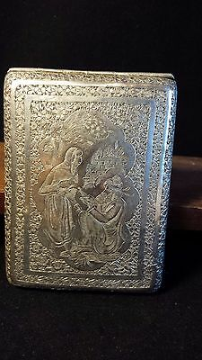 BEAUTIFUL ANTIQUE EARLY 1900's ISLAMIC PERSIAN SILVER CIGARETTE CASE - ISFAHAN