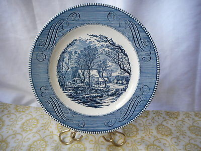 """Vtg ROYAL CHINA CURRIER AND IVES 10"""" Blue Dinner Plate THE OLD GRIST MILL"""
