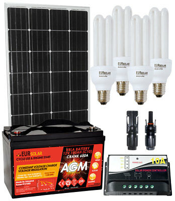 150W (160W) 12V Mono Solar Kit 100Ah Battery 10A Charger MC4 Connectors CFL Lamp