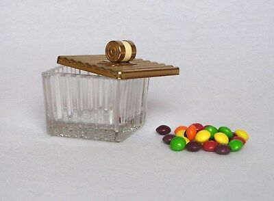 Adorable Vintage French ART DECO GLASS CONTAINER with lid