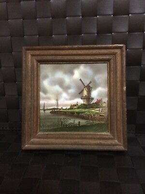 "Mosa Holland Hand Decorated Ceramic Tile . Framed. Windmill 4 1/8"" x 4 1/8"""