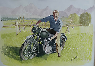 Steve McQueen The Great Escape Triumph motorcycle PRINT from original painting