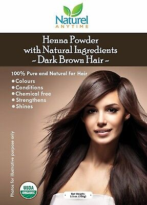 Henna  Powder Hair Dye  Dark Brown Hair Colour 100gm  100% PURE + water