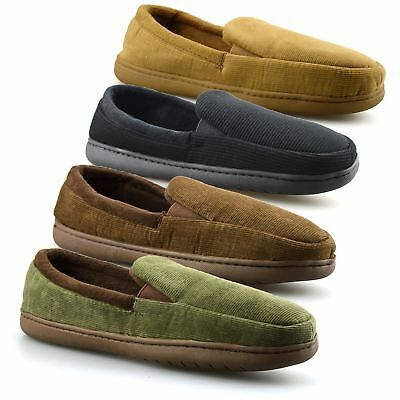 Mens New Slip On Soft Warm Lined Cord Winter Moccasin Slippers Loafer Shoes Size