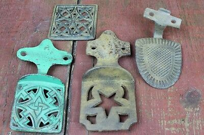 Lot of 4 Antique Cast Iron Horse Drawn Buggy / Carriage Steps ~Foot Plate