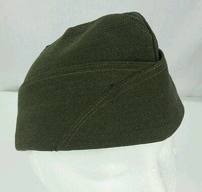 Vintage Wolf-Brown Side Cap Olive Green 7 1/8 Size 100% Wool Los Angeles Hat