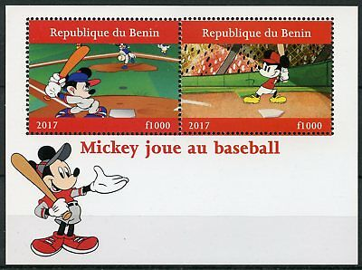 Benin 2017 MNH Mickey Mouse Baseball 2v M/S Sports Disney Cartoons Stamps