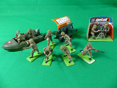 Britains Deetail British Infantry Full Set + 25 Pdr. Gun + Mortar Playset + Boat