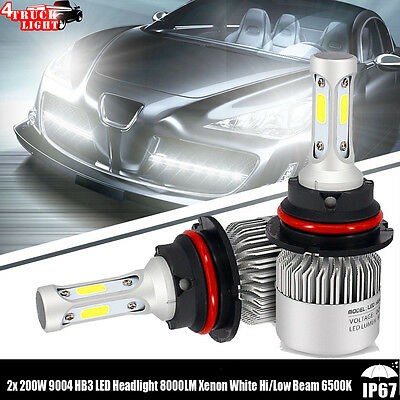 2x 200W 9004 HB1 LED Headlight 8000LM Xenon White Hi/Low Beam 6500K Bulbs S8 Kit
