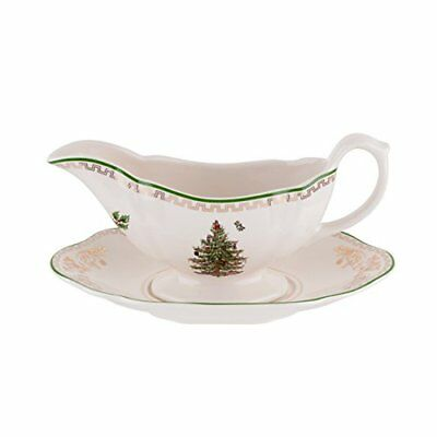 NEW Spode Christmas Tree Sauce Boat and Stand Gold FREE SHIPPING