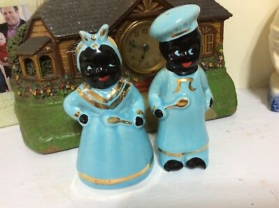 VINTAGE 1950 BLACK SAMBO + AUNT JEMIMA BLUE SET~Kitchen Spices~Christmas SALE