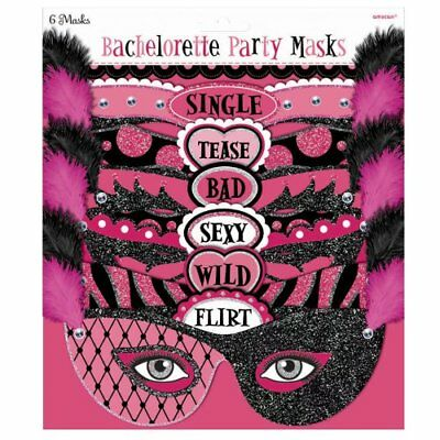 6 Pack Face Masks Hen Party// Bachelorette Assorted Party  NEW