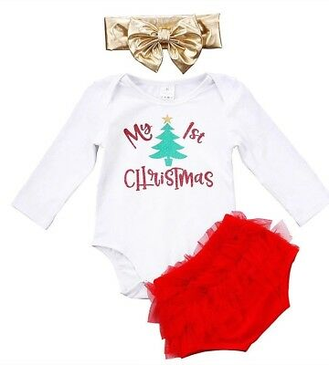 Baby Girls My 1st First Christmas Outfit Tutu Knickers Bow Photo Shoot Prop XMAS