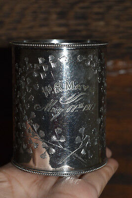 Vtg Antique Etched leaves Silver Nursery Baby Cup with handle, 1917. 3.25 tall