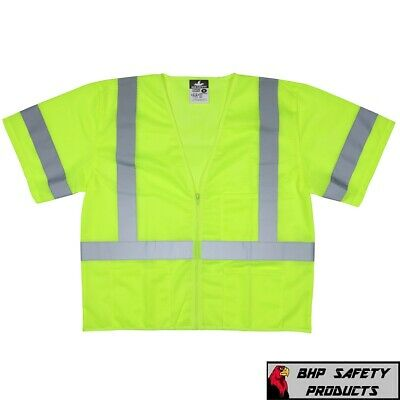 Class 3 Iii Traffic Safety Vest Hi-Vis Mesh Lime Construction, M-4Xl