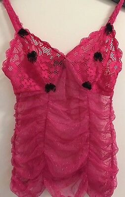 Victoria's Secret Pink All Lace Gathered Sides Peekaboo Camisole Small