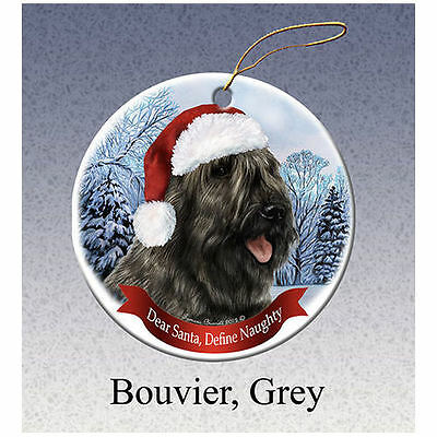 Bouvier des Flandres Grey Howliday Porcelain China Dog Christmas Ornament