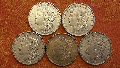 1921 Morgan Silver Dollars Lot Of (5)  Au To Au+++   #a-328
