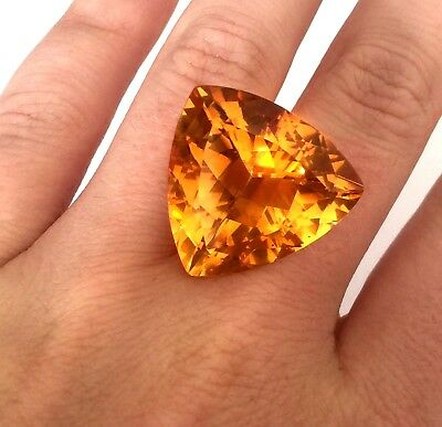 Large 29 Ct Natural Trillion Cut Loose Orange Citrine Gemstone No Appraisal