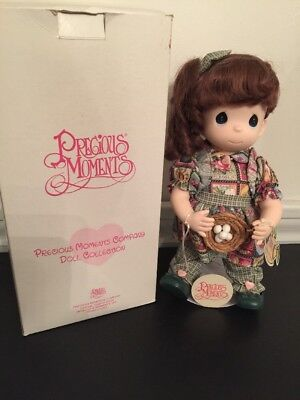 "New Precious Moments NIB 12"" Doll Pansy July #1394 with Stand Birds Nest"