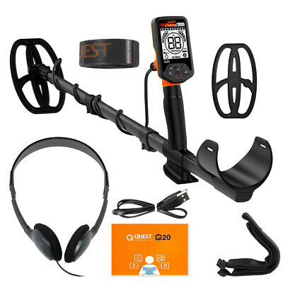 Quest Q20 Metal Detector with 9.5x5 TurboD Waterproof Search Coil